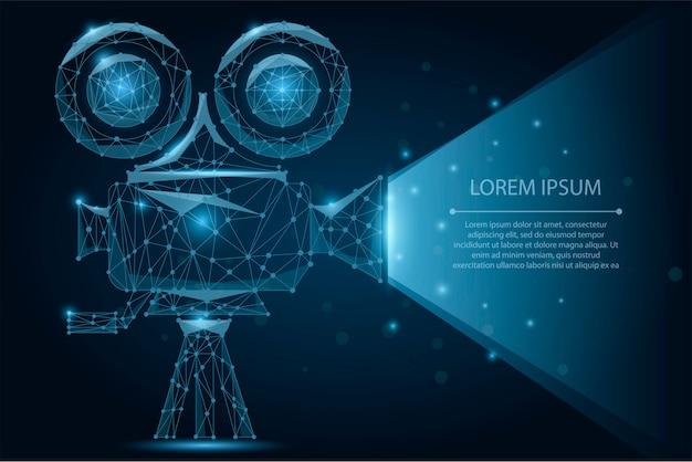 Abstract polygonal retro cinema projector. movie time. cinema, movie Premium Vector
