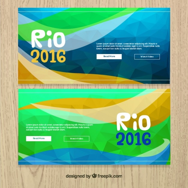 Abstract polygonal rio 2016 banners