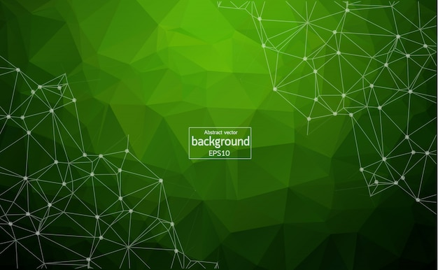 Abstract polygonal space green background Premium Vector
