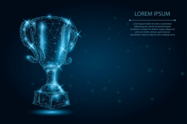 Abstract polygonal trophy cup. low poly wireframe vector illustration. champions award for sport victory Premium Vector