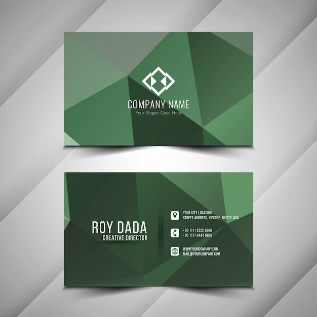 Abstract polygonal visiting card design Free Vector
