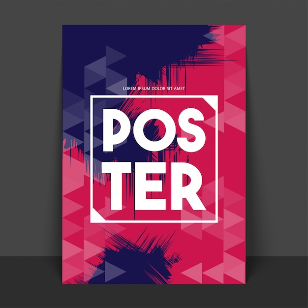 Abstract poster, banner or flyer with geometric triangular pattern in purple and pink colors. Free Vector