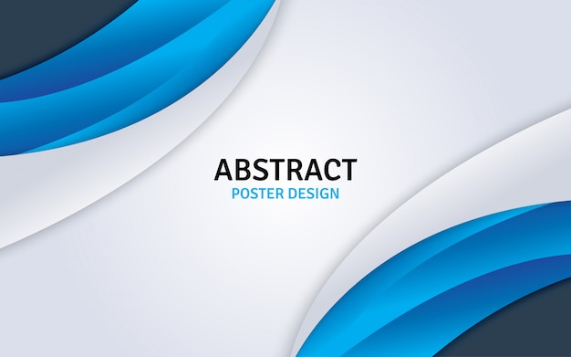 Abstract poster design with blue and white background. Premium Vector