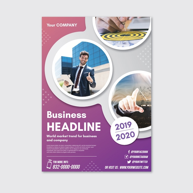Abstract poster with photos for business Free Vector