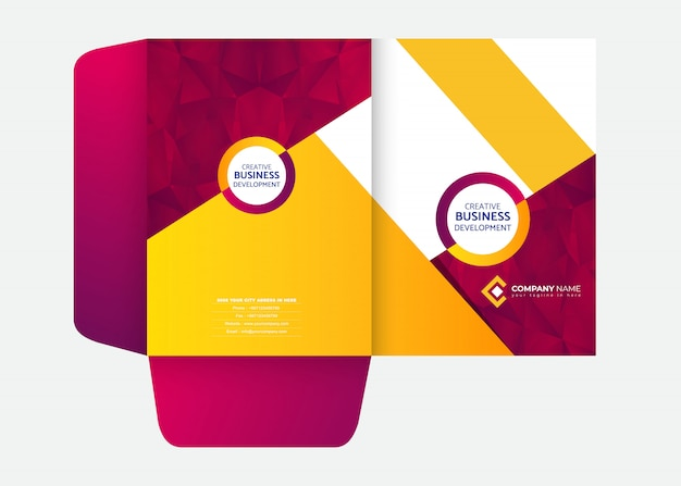 Abstract presentation folder design template Premium Vector