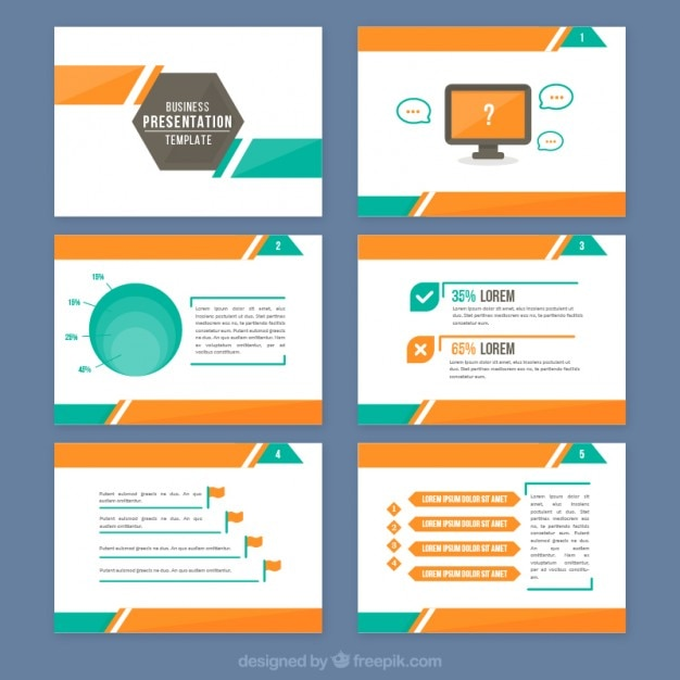 abstract presentation with orange and green details vector | free, Presentation templates