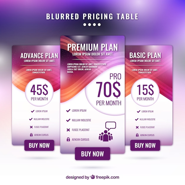 Abstract price banners with defocused effect Free Vector