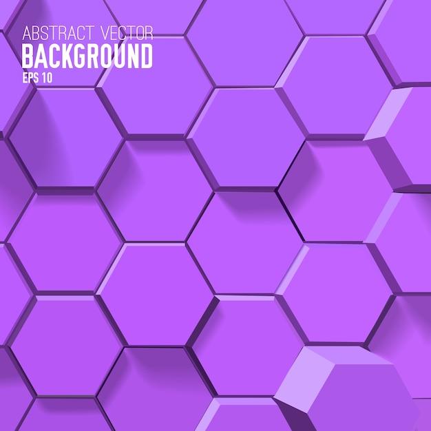 幾何学的な六角形の抽象的な紫色の背景 無料ベクター