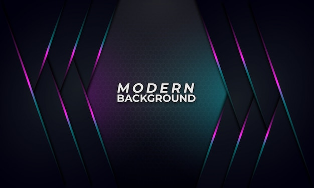 Abstract purple and blue gradient line on dark background Premium Vector