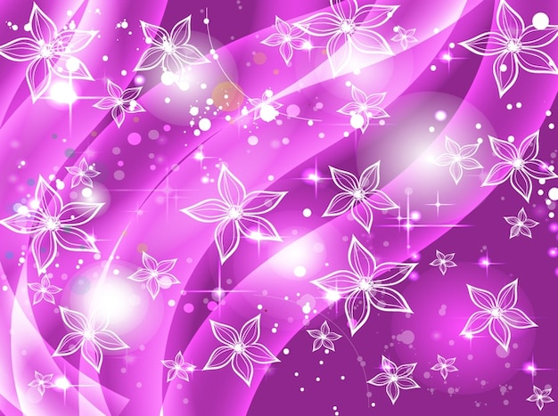 Abstract purple flowers stars background