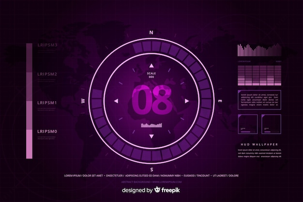 Abstract purple hud technology background Free Vector