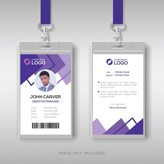 Abstract purple id card design template Premium Vector