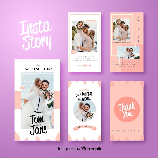 Abstract purple instagram stories template Free Vector
