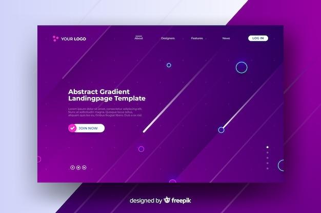 抽象的な紫色のランディングページ 無料ベクター