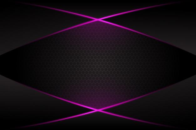 Abstract purple light cross line on dark grey blank space design modern futuristic background Premium Vector