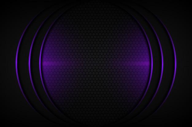 Abstract purple light curve line on dark grey blank space design modern futuristic background Premium Vector
