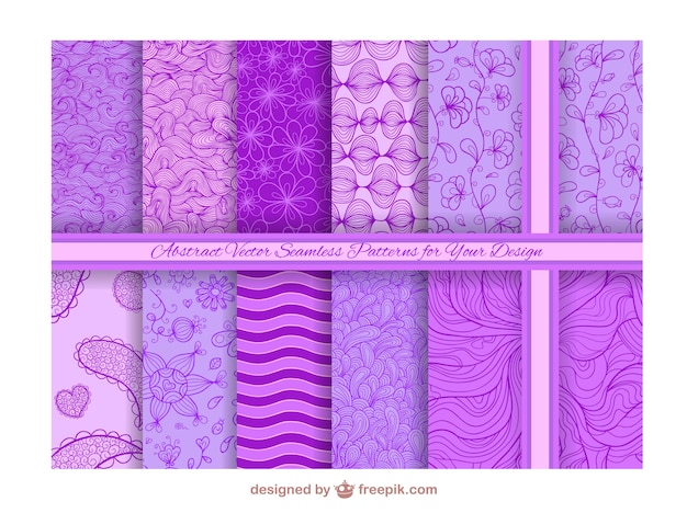 Abstract purple seamless backgrounds Free Vector