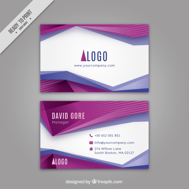 Abstract purple shapes corporative card Premium Vector
