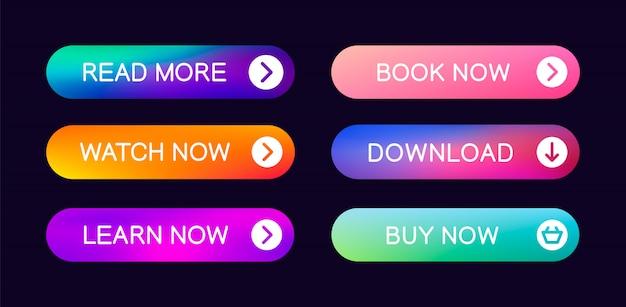 ウェブサイト、ui、アプリ、ゲームインターフェースで使用するための抽象的なプッシュボタンセット。最新のweb要素。 Premiumベクター