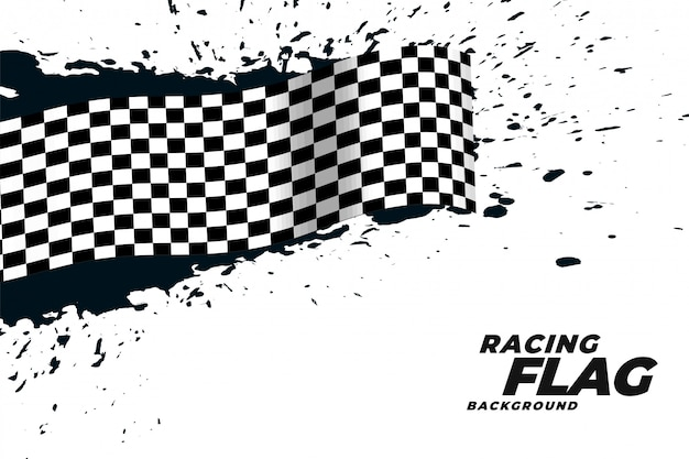 Abstract racing flag grunge background Free Vector