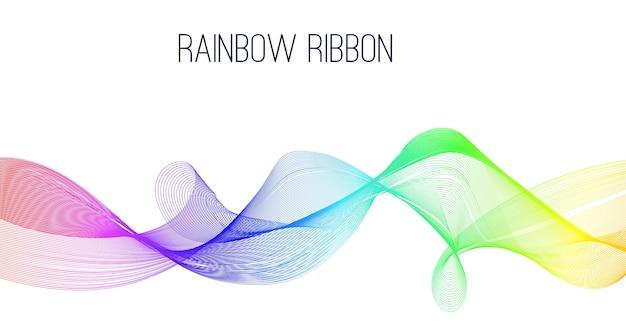 Abstract rainbow ribbon banner. Premium Vector