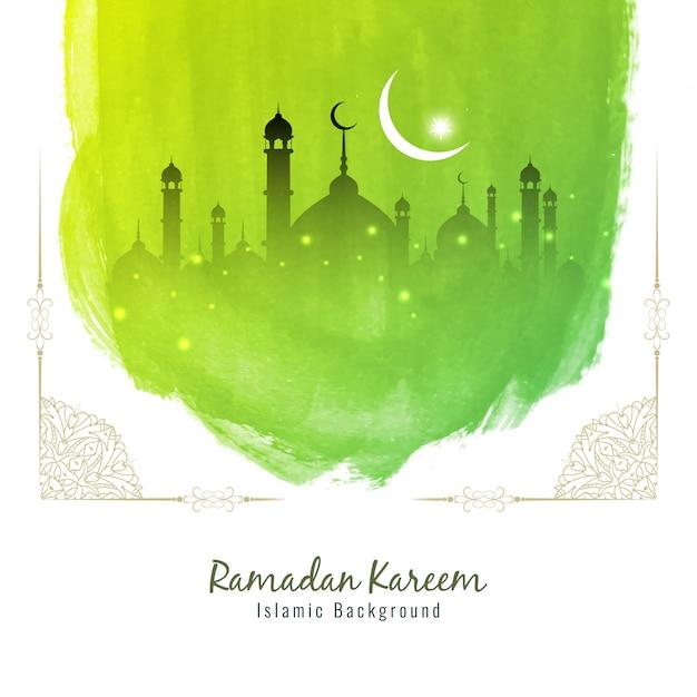 Abstrak latar belakang cat air hijau ramadhan kareem Vektor Premium