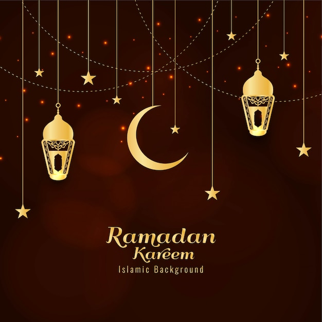 Abstract ramadan kareem religious greeting background Free Vector