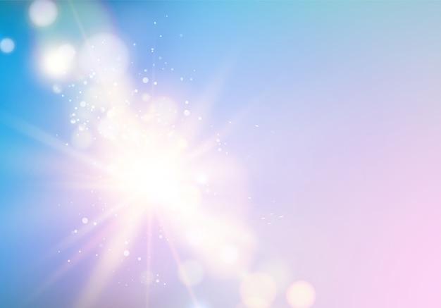 푸른 하늘 위에 bokeh와 추상 광선 무료 벡터