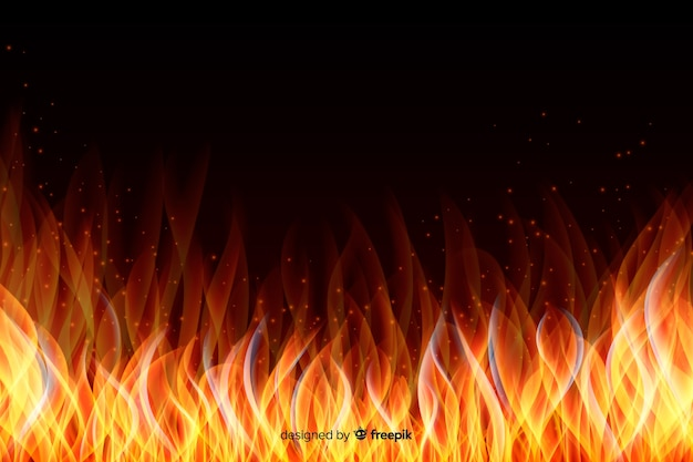 Abstract realistic flames frame background Free Vector
