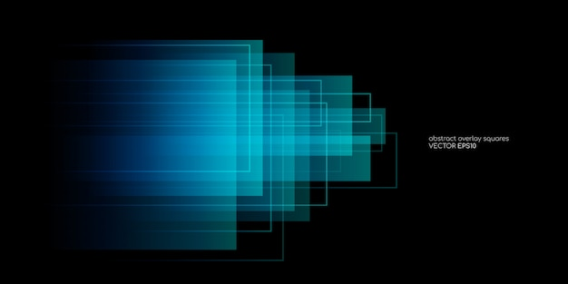 Abstract rectangle shapes transparent overlay in blue and green colors on black background. Premium Vector