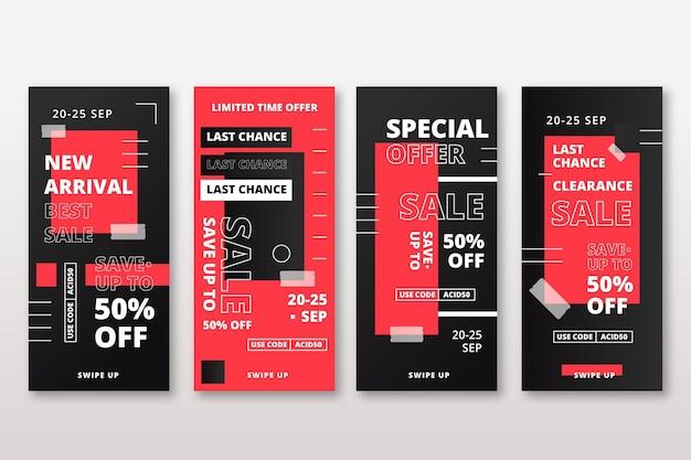Абстрактный красный кислотные цвета instagram продажи истории Бесплатные векторы