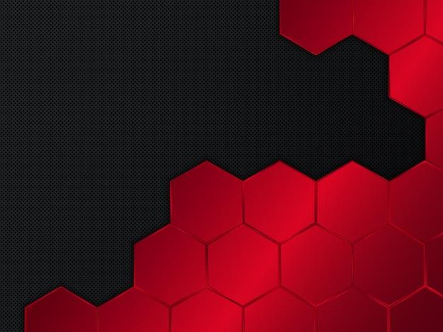 六角形の抽象的な赤と黒の背景。図 Premiumベクター