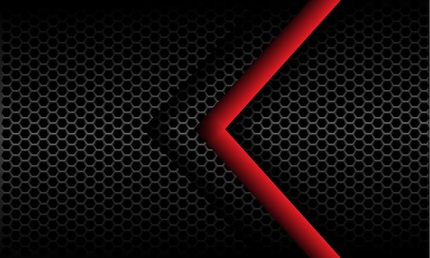 Abstract red arrow direction on dark grey metallic hexagon mesh pattern design modern futuristic background Premium Vector