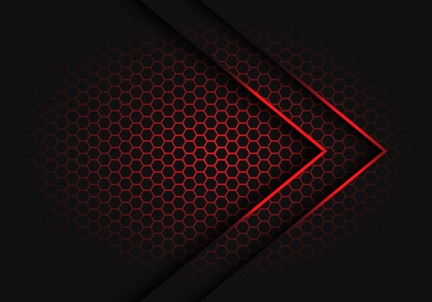 Abstract red arrow light shadow direction on hexagon mesh pattern design modern futuristic background vector illustration. Premium Vector
