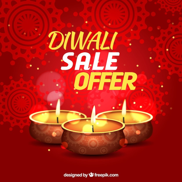 Abstract red background of diwali sales