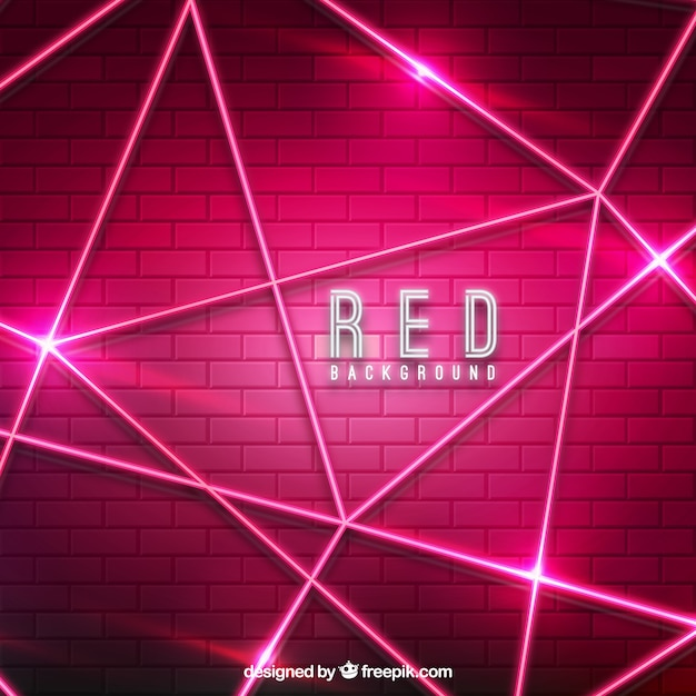 Abstract red background with neon lights Free Vector