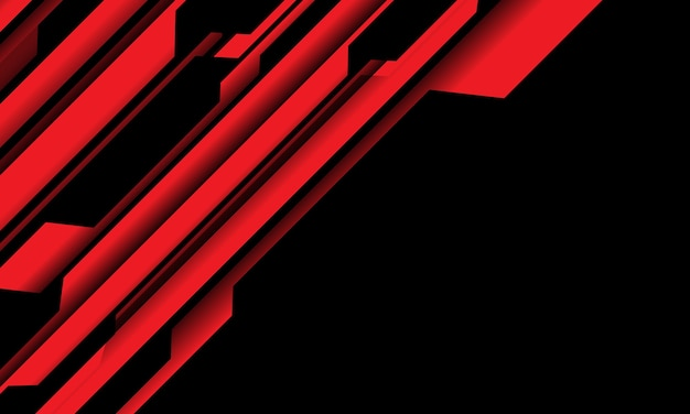 空白スペース現代の未来的な技術の背景図と抽象的な赤黒サイバー回路。 Premiumベクター