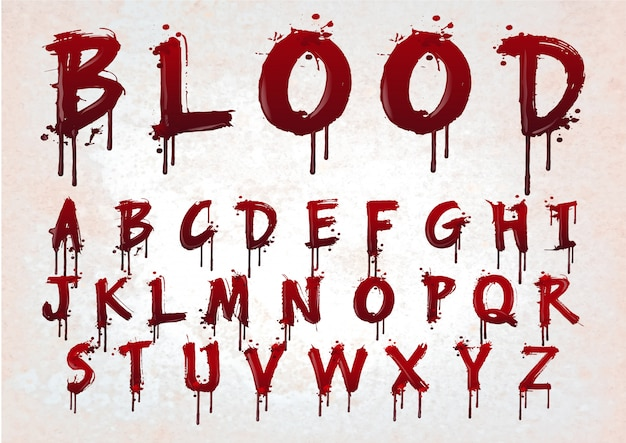 Abstract red blood alphabet. Premium Vector