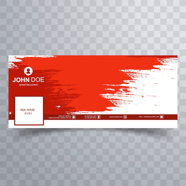Abstract red brush facebook cover design Free Vector