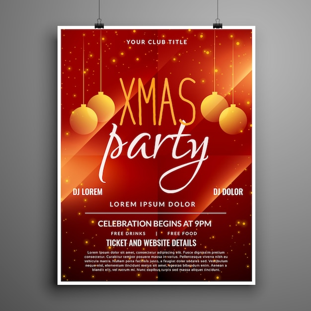 Abstract Red Christmas Party Event Flyer Design Template Free Vector  Christmas Party Ticket Template Free