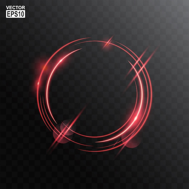 Abstract red circle light frame Premium Vector