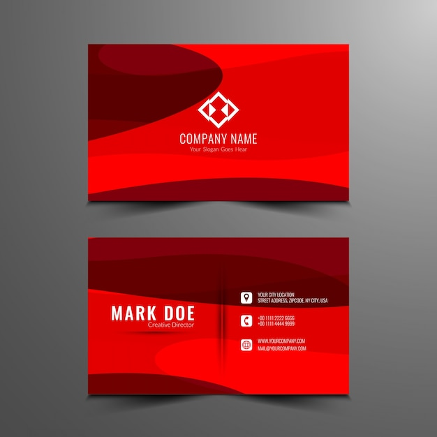 Abstract red color business card design vector free download abstract red color business card design free vector reheart Images