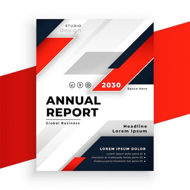 抽象的な赤い企業チラシ年次報告書テンプレート 無料ベクター