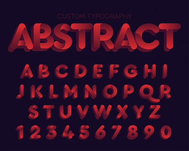 Abstract red curves typography design Premium Vector