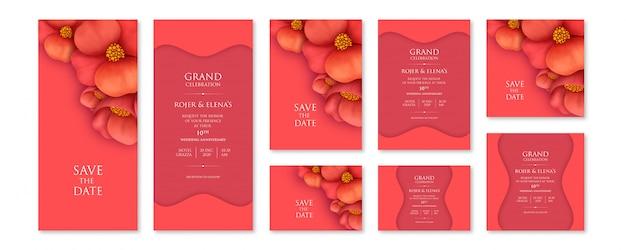 可変サイズの抽象的な赤い花の招待状セットテンプレート Premiumベクター