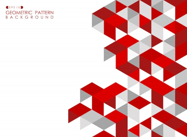Abstract red geometric background with polygonal triangles. Premium Vector