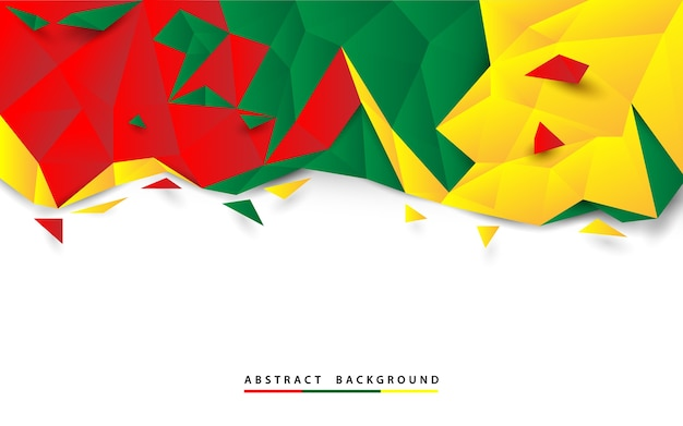 Abstract red green and white polygon on white background Premium Vector