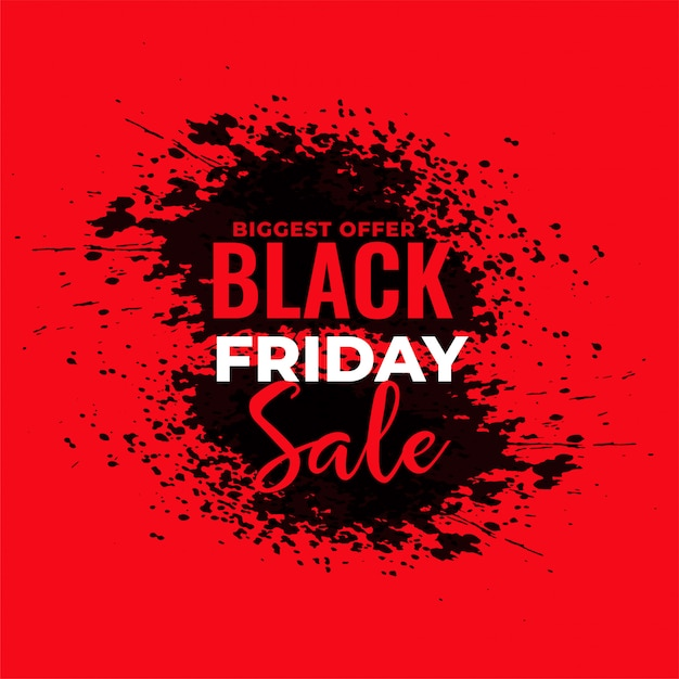 Abstract red grunge black friday sale background Free Vector