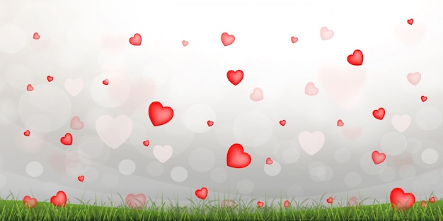 Abstract red heart background. Premium Vector