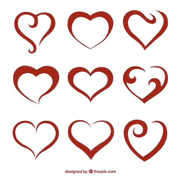 Abstract red hearts pack Free Vector